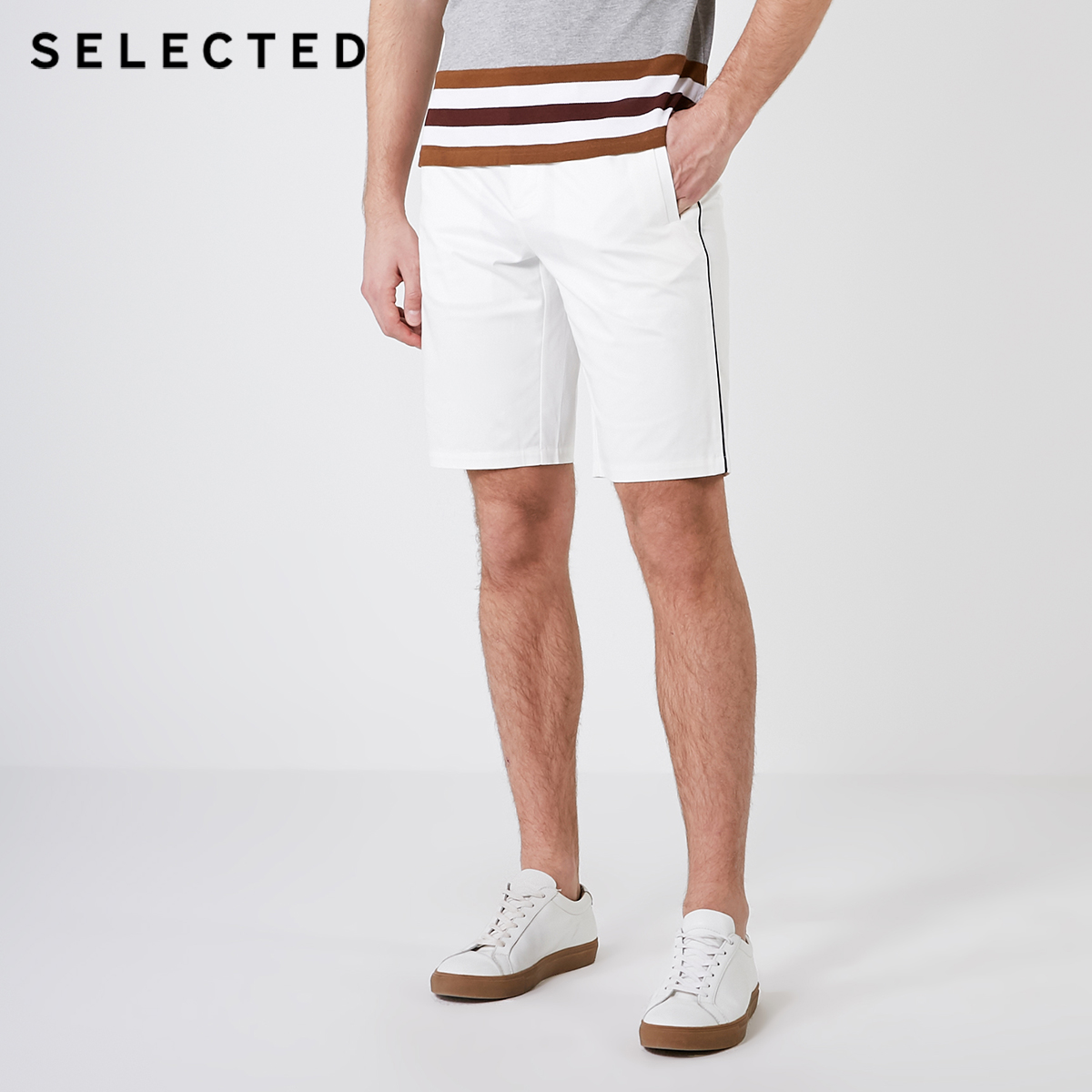 SELECTED Men's Straight Regular Fit Casual White Knee-high Shorts S|4192SH517