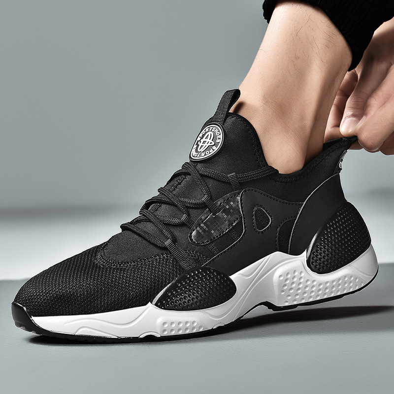 2019 New Trendy Sneakers Men Upper Breathable Chunky Shoes Anti Slip Vulcanized Shoes Black White non slip shoes Yasialiya in Men 39 s Vulcanize Shoes from Shoes