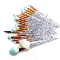 20 sztuk diamentowy pędzel do makijażu zestaw pędzelek do oczu przybory kosmetyczne Fan Powder Eyeshadow Contour Beauty Cosmetic kolorowe narzędzie do makijażu