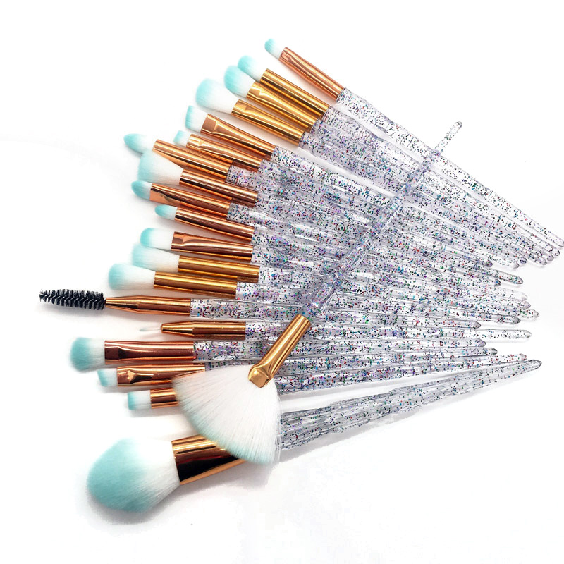 20pcs Diamond Makeup Brush Set Eye Brush Beauty Tools Fan Powder Eyeshadow Contour Beauty Cosmetic Colorful For Make Up Tool