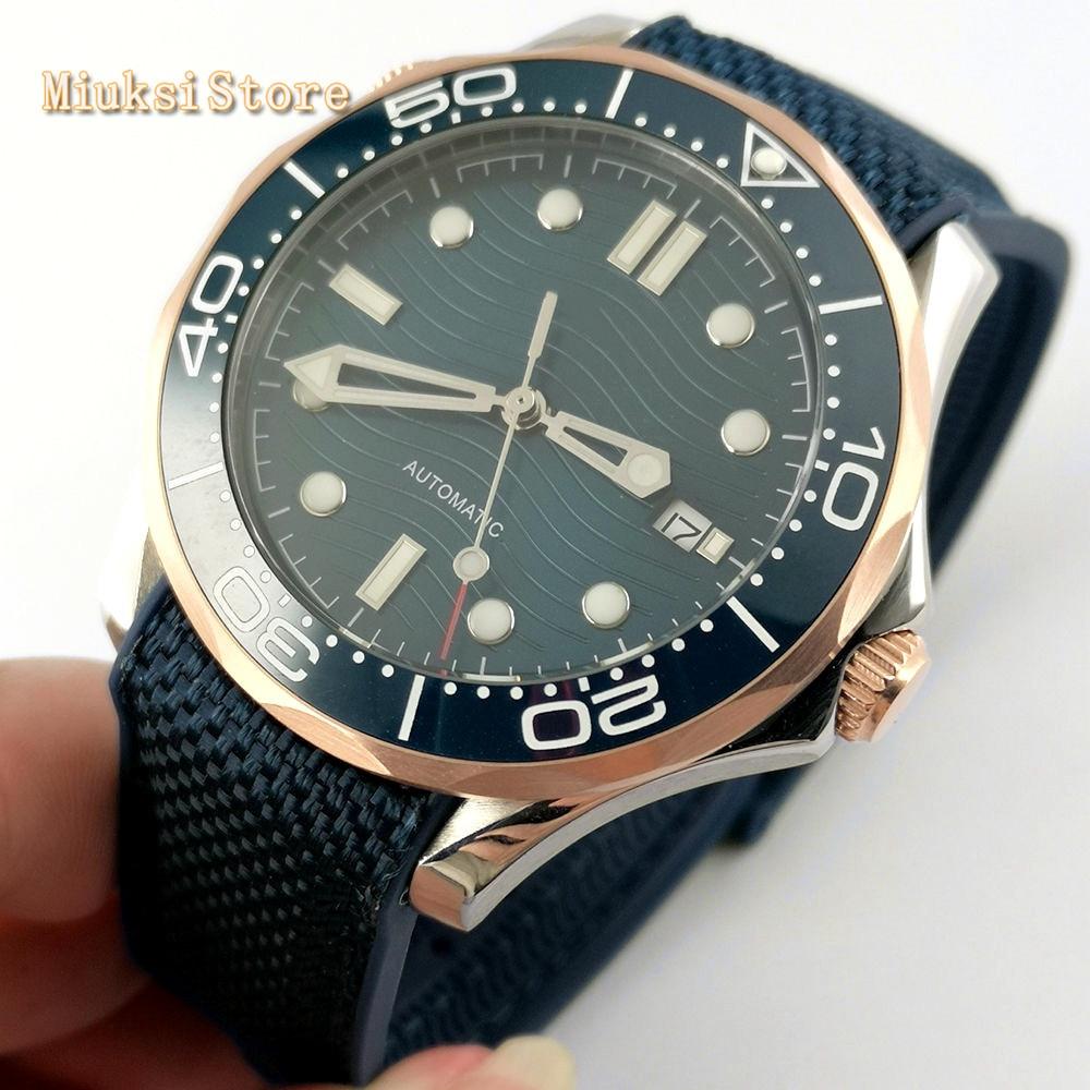 Bliger 41mm sapphire glass ceramics bezel sterile dial date luminous rubber strap automatic mens top luxury business watch