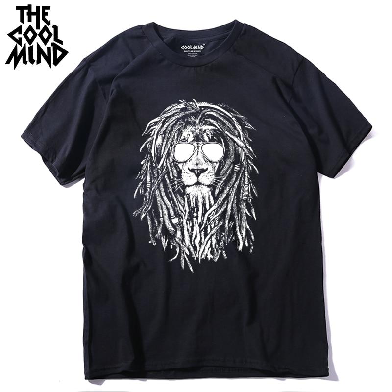 COOLMIND QI0124A casual o-neck summer men Tshirt loose t-shirt tee shirt 100% cotton cool lion short sleeve men T shirt pthd