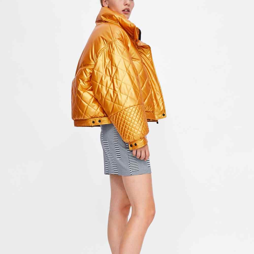 New Fashion Women's down cotton-padded jacket Outwear for women Winter Coat Casual Warm Parka puffy Glossy golden cotton coat