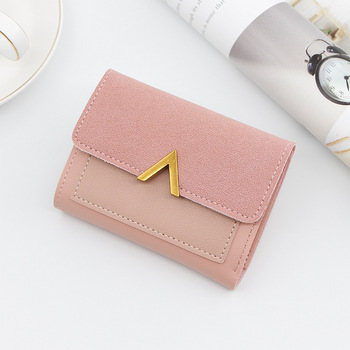 Solid Color Women Wallets Short Mini Wallet Leather Button Love Coin Purse Lady Notecase Pocket Purse Card Female Money Bag fullmetal alchemist edward elric anime wallet pu leather khaki color short bifold purse card holder of button money bag