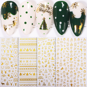 1 Sheet 3D Nail Sticker Christmas Bronzing Nail Art Stickers Winter Glitter Snowflower Slider Decals Decorations