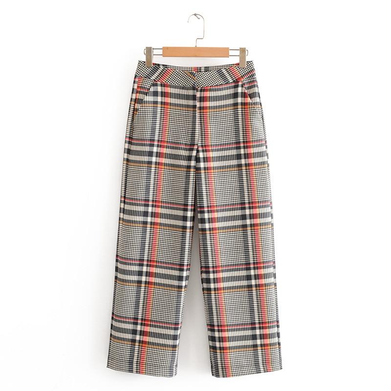 2020 Spring Autumn Vintage Plaid Women's Pants Suit Single Breasted Blazer Jacket Tops+Zipper Trousers Office Lady Two Piece Set