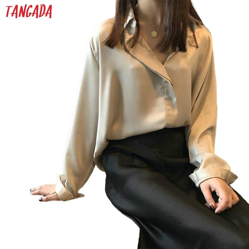 Tangada Women Elegant Solid Oversized Shirts Turn Down Collar Long Sleeve Office Ladies Work Wear Blouses ASF06