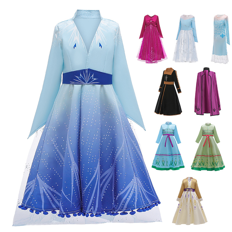Ice Snow Story 2 Cosplay Elsa Anna Princess Dress Festival Party Leisure Summer Girls Dress Snow Queen Fantasy Baby Girl Dresses