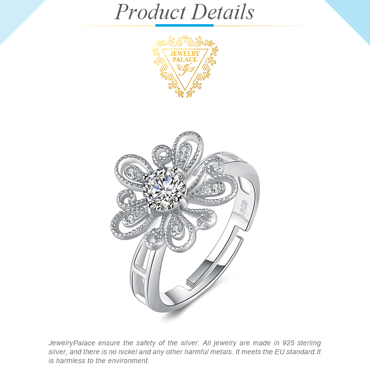 JewelryPalace Cubic Zirconia CZ Milgrain Filigree Blossom Flower Adjustable Open Ring 925 Sterling Silver Rings for Women Hf2674553f4ad4455b64e62361b37931dg silver ring