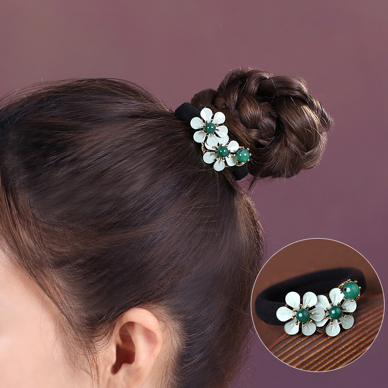 Creative Metal flower Agate Hair Rings rough elastic string Ethnic Ornaments Chinese Ancient style Hair ropes Hair Accessories in Hair Jewelry from Jewelry Accessories