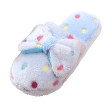 Cute Winter On Indoor Slippers Women Warm Indoor Non-Slip Slip zapatos de mujer Home shoes woman Bow Cotton Slippers dropship(China)