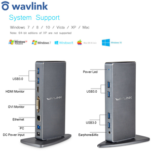 Image 1 - Full HD 2048X1152 Đa Năng USB 3.0 Đế Cắm + RJ45/DVI/HDMI/VGA/Mic/Cổng Âm Thanh DisplayLink Gigabit Ethernet Mạng Làm Việc