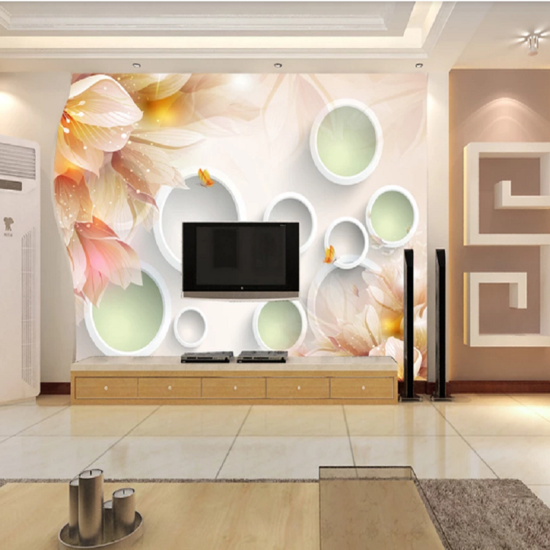 Custom Large Mural 3D Wallpaper Modern Creative 3D Expansion Space Abstract Flower Circle TV Wall Decor Deep 5D Embossed