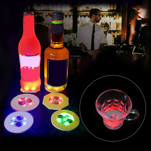 LED Bottle Coasters Glitter Coasters Cup Light Stickers Christmas Nightclub Bar Party Decoration LED Cup Mat Dropshipping