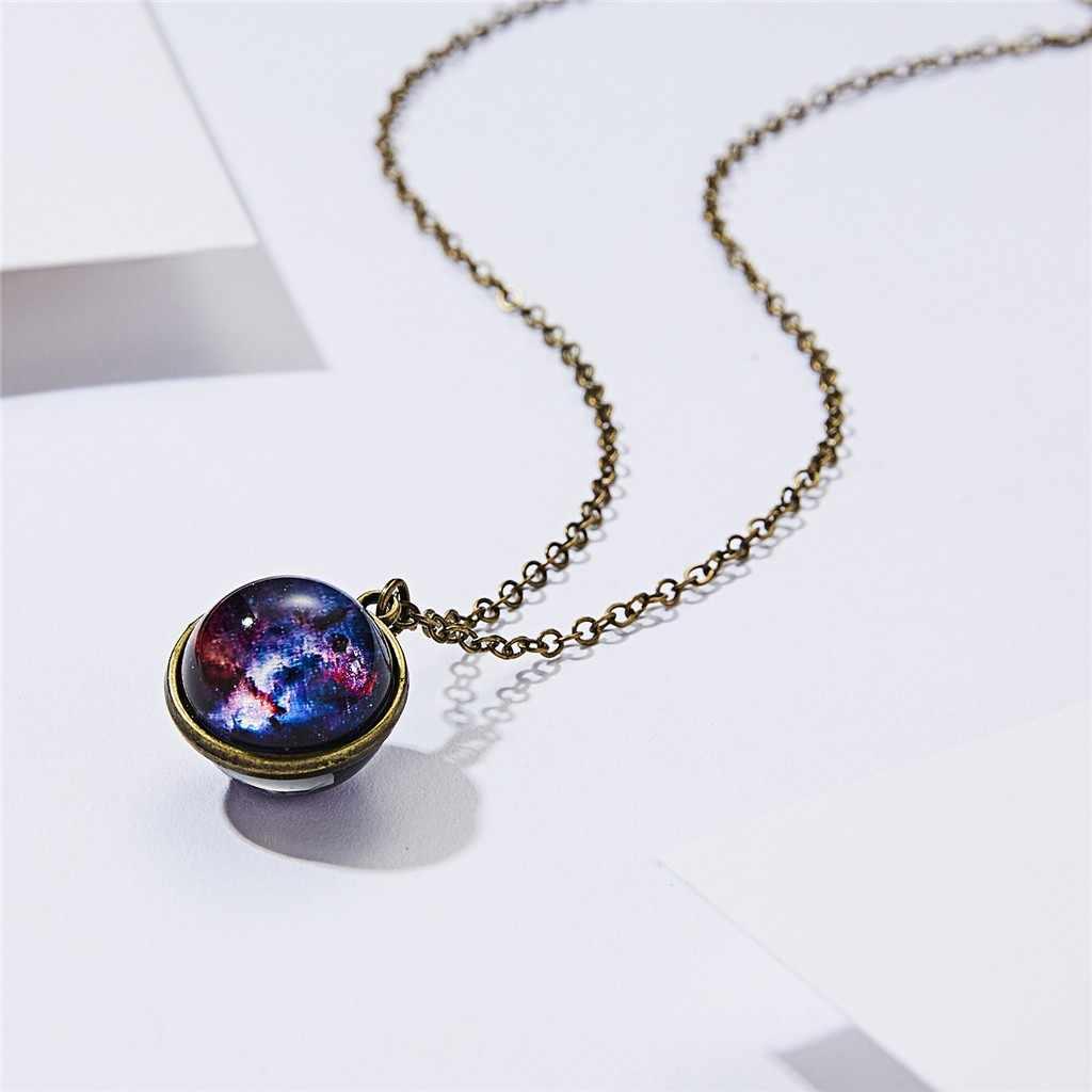 女性ゴールドシルバーダークネックレス銀河システム両面ガラスドーム惑星ネックレスペンダントファッション # w3