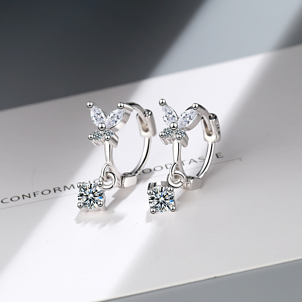 Sweet Fashion 925 Sterling Silver Earrings For Women Bow Knot Butterfly CZ Zircon Crystal pendientes Xmas Jewelry Gift