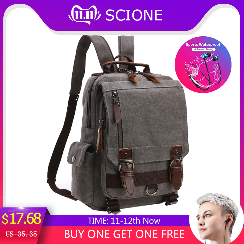 Scione Small Canvas Backpack Men Travel Back Pack Multifunctional Shoulder Bag Women Laptop Rucksack School Bags Female Daypack