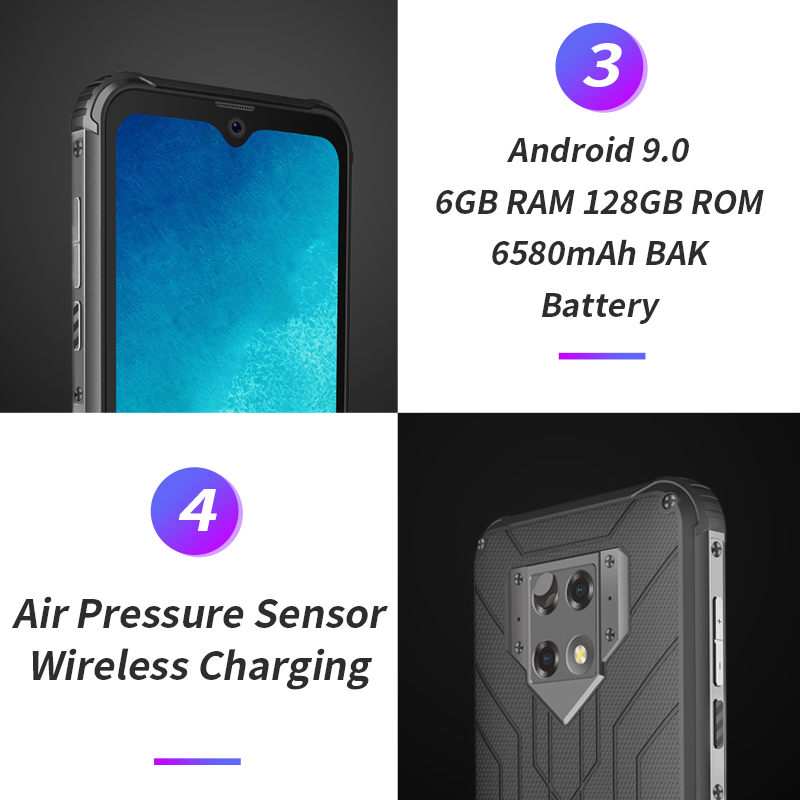 Blackview BV9800 NFC 6GB pamięci RAM 128GB ROM 6580mAh Android 9.0 wstrząsoodporny telefon komórkowy 4G wytrzymały smartfon 6.3