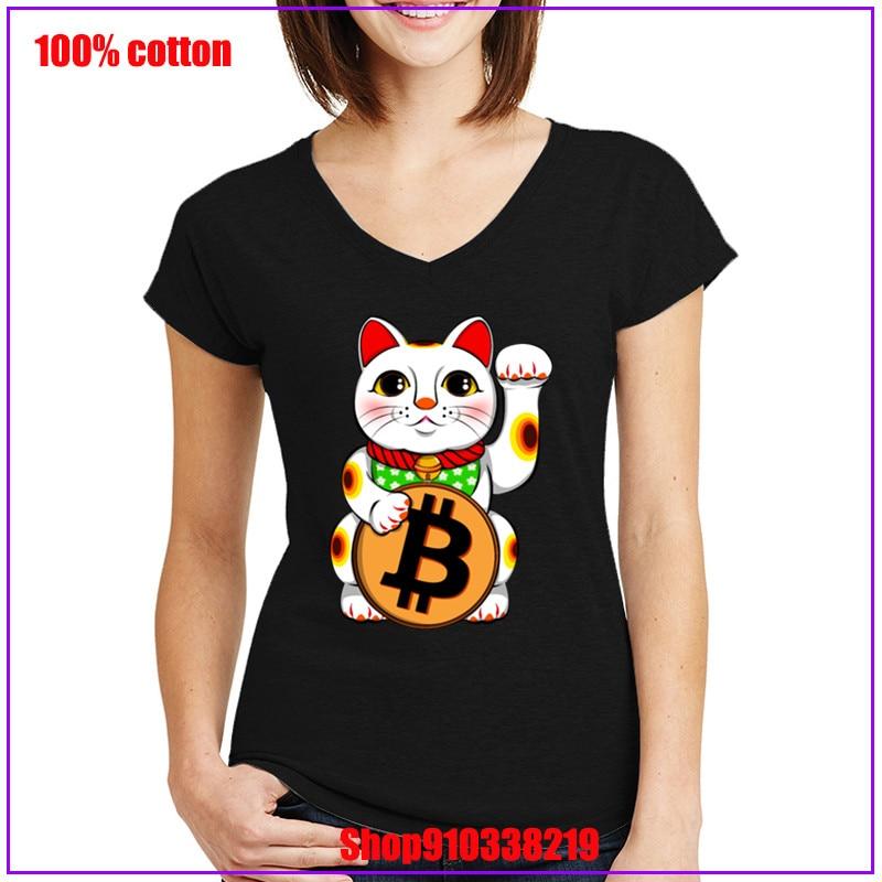 2020 Top Selling Bitcoin Lucky Cat Maneki Neko T Shirts Pre-cotton T-Shirt New Design Women Bitcoin V-neck T Shirt for Female 1