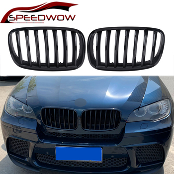 SPEEDWOW High Quality Car Front Kidney Grille Front Bumper Racing Grills For BMW E70 E71 X5 X6 2007-2013 Black Silver 1 Pair image