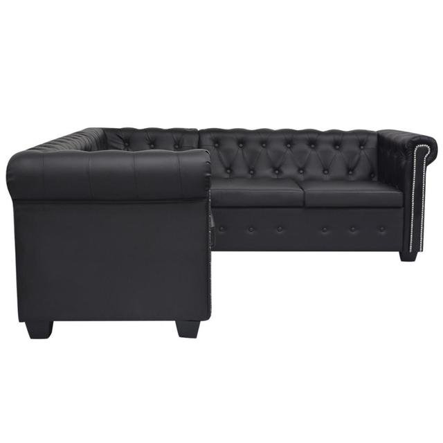 [ES Warehouse] Chesterfield Style 5 seater sofa in black artificial leather Free Shipping Spain Drop Shipping 1