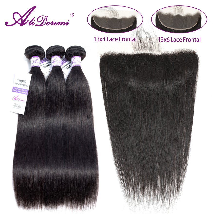 Alidoremi 13x4 13x6 Brazilian Straight Hair Lace Frontal Closure With Bundles Remy Human Hair Closure Free Part