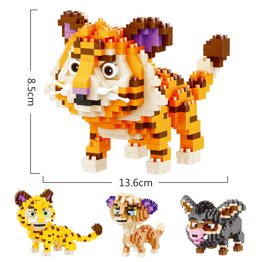 Mini Building Blocks Small Particles Toys Tiger Leopard Brothers Building Blocks Kids Gifts