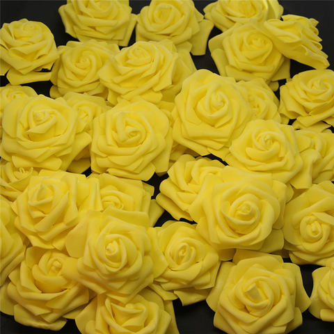 Low Cost 10pcs-100pcs Yellow PE Foam Rose Flower Head Artificial Rose For Home Decorative Flower Wreaths Wedding Party DIY Decoration — stackexchange