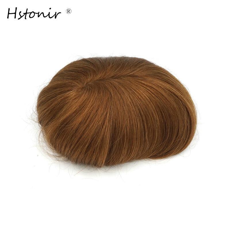 Hstonir Injection European Men Wig Remy Hair Pieces For Short Hair Prosthesis H076