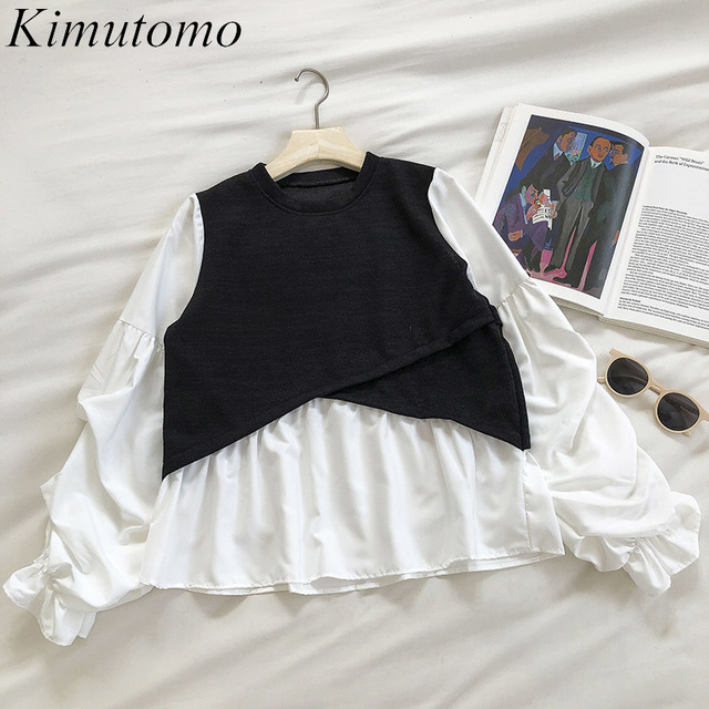 Kimutomo 2021 Spring Fashion Patchwork Blouse Women O-neck Puff Sleeve Solid Shirt Ladies Fake Two Piece Tops Outwear New 1