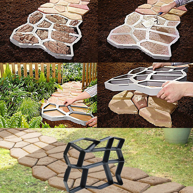 DIY Paving Mould Home Garden Floor Road Concrete Stepping Driveway Stone Path Mold Patio Maker Black Plastic Making