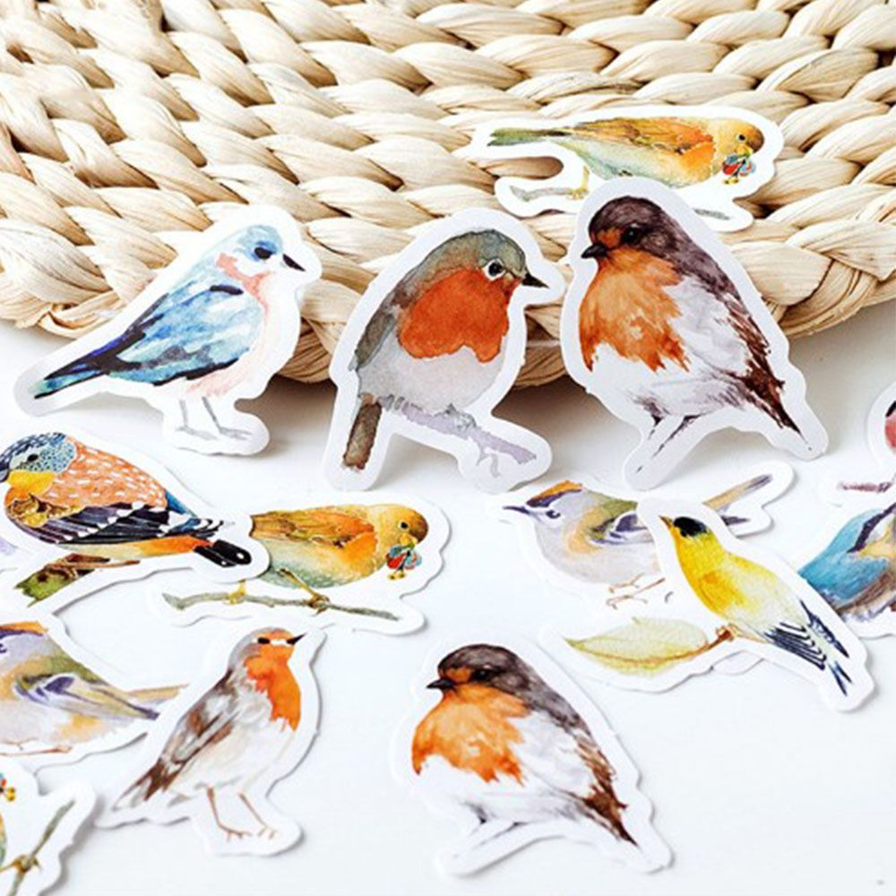 45Pcs Cute Robins Birds Adhesive Stickers Kawaii Diary Albums Wall Sticker Home Decor Stickers Scrapbooking DIY Sticker For Kids