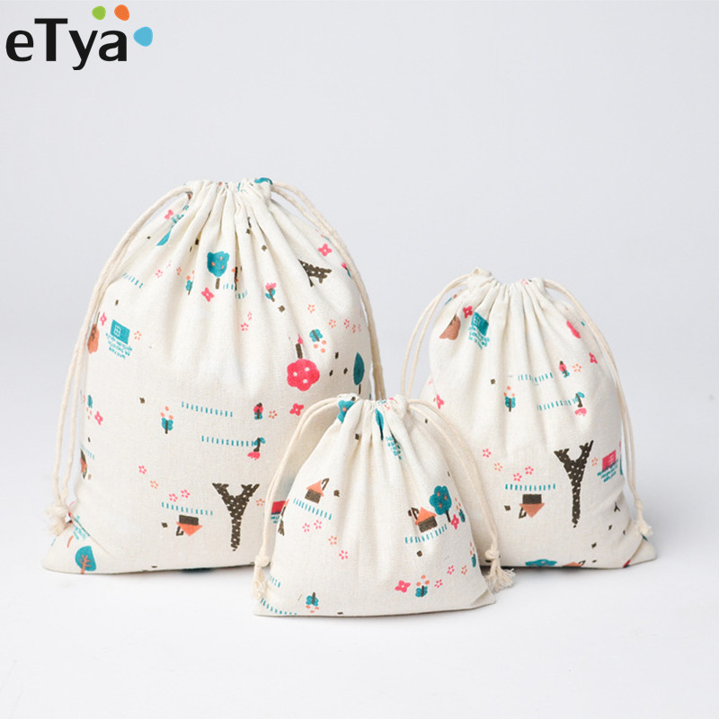 ETya Women Cute Drawstring Bags Fashion Travel Cosmetic Cloth Shoes Bag Cotton Small Coin Money Sanitary Napkin Pouch Case