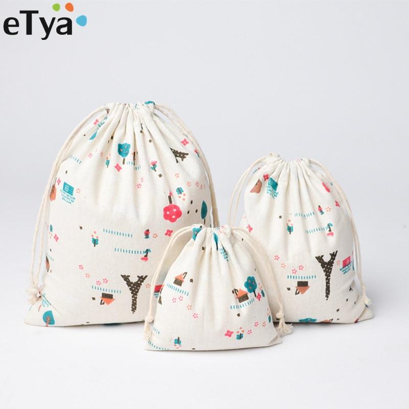 ETya Women Cute Drawstring Bags Fashion Travel Cosmetic Cloth Shoes Bag Cotton Small Coin Money Sanitary Napkin Pouch Case