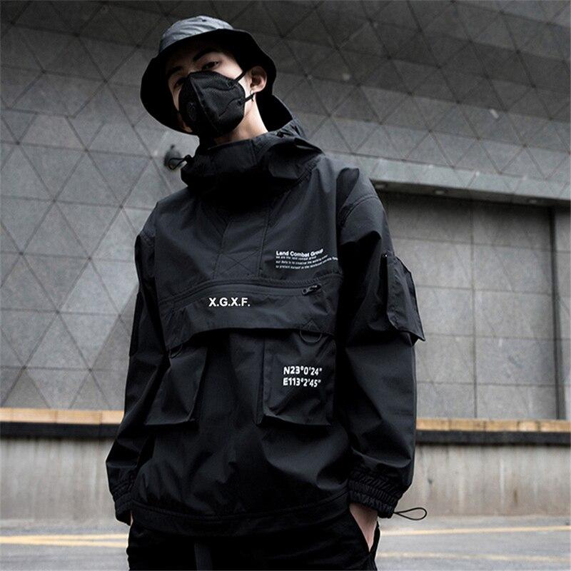 US Size Black Cargo Jackets Men Streetwear Military Tactical Jacket Multi-pocket Male 2019 Autumn Hoody Windbreaker Coat DG444