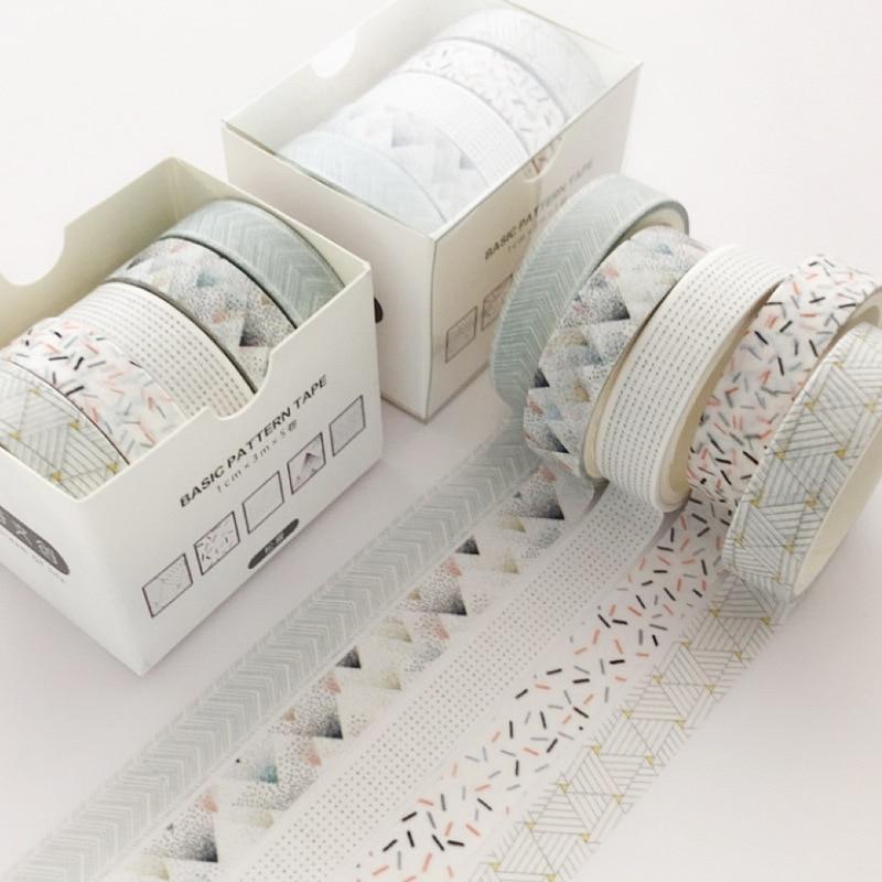 5 Pcs/Set Pine Fog Bullet Journal Washi Tape Scrapbooking DIY Adhesive Tape Sticker Label Masking Tapes Washitape makeup organizer box