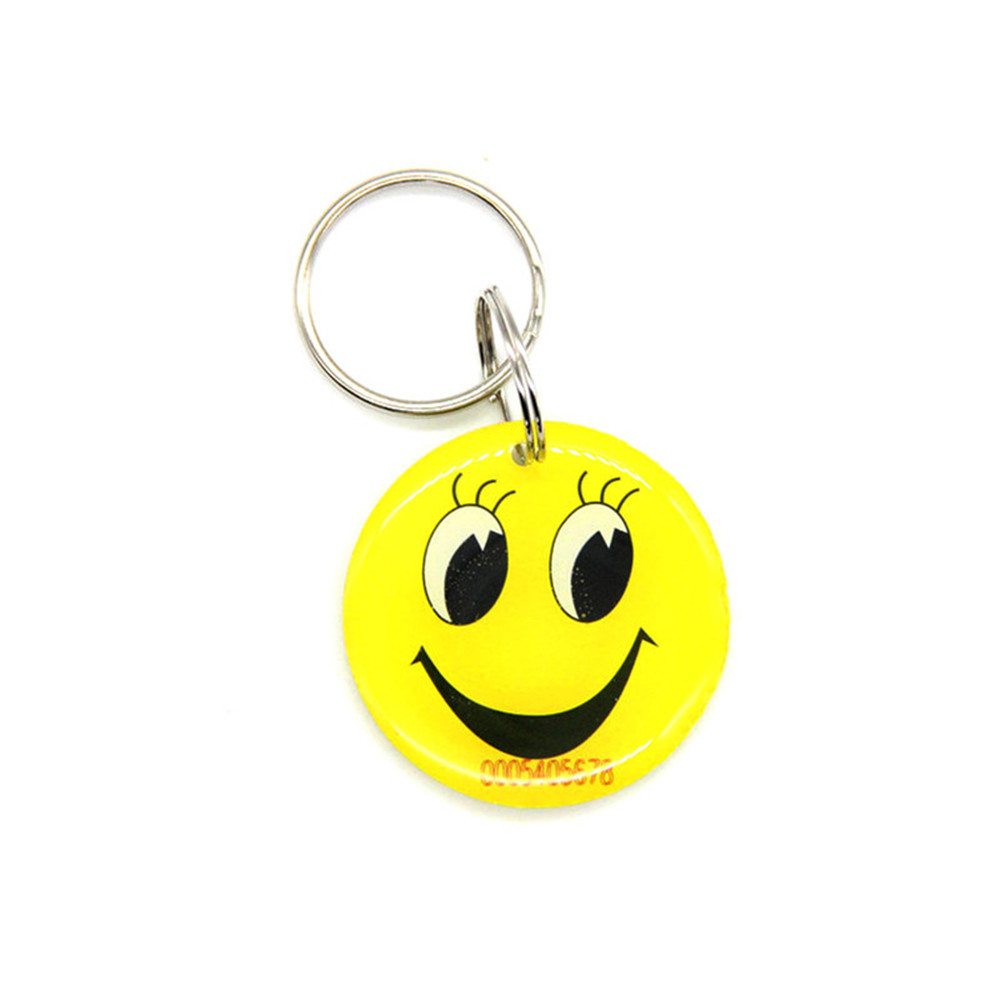 1pcs 125khz EM4100 TK4100 RFID Yellow Smiling Face ID Waterproof Read Only Dropping Glue Card Keyfob Token Tag Access Control