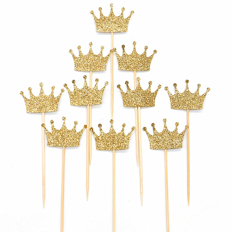 New 20 Pcs/lot Gold Princess Crown Glitter Cupcake Topper Birthday Cake Topper for Boys Girls Birthday Party Cake Decorations