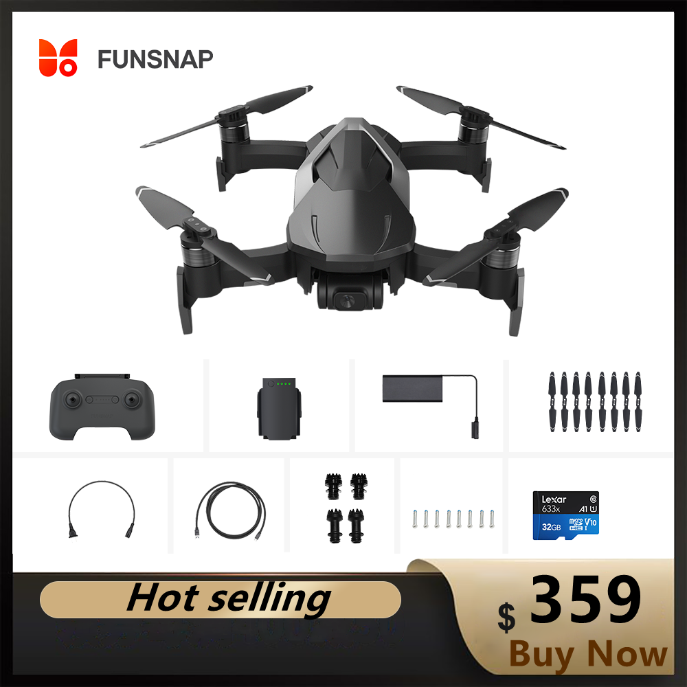 FUNSNAP DIVA RC Quadcopters with 5.8G WIFI 2KM FPV 4K Camera HDR Video GPS 30mins Flight Time Drone