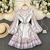 Boho 2021 High Waist Elegant Dresses Women Dress Party Luxury Long Sleeve Autumn Spring A-Line Runway Vintage Embroidery Puff 3