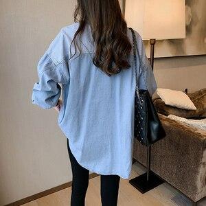 Image 2 - GOPLUS Womens Shirt Blue Blouse Clothing for Women Tops 2020 Turn Down Collar Patchwork Denim Blouses Shirts Haut Chemise Femme