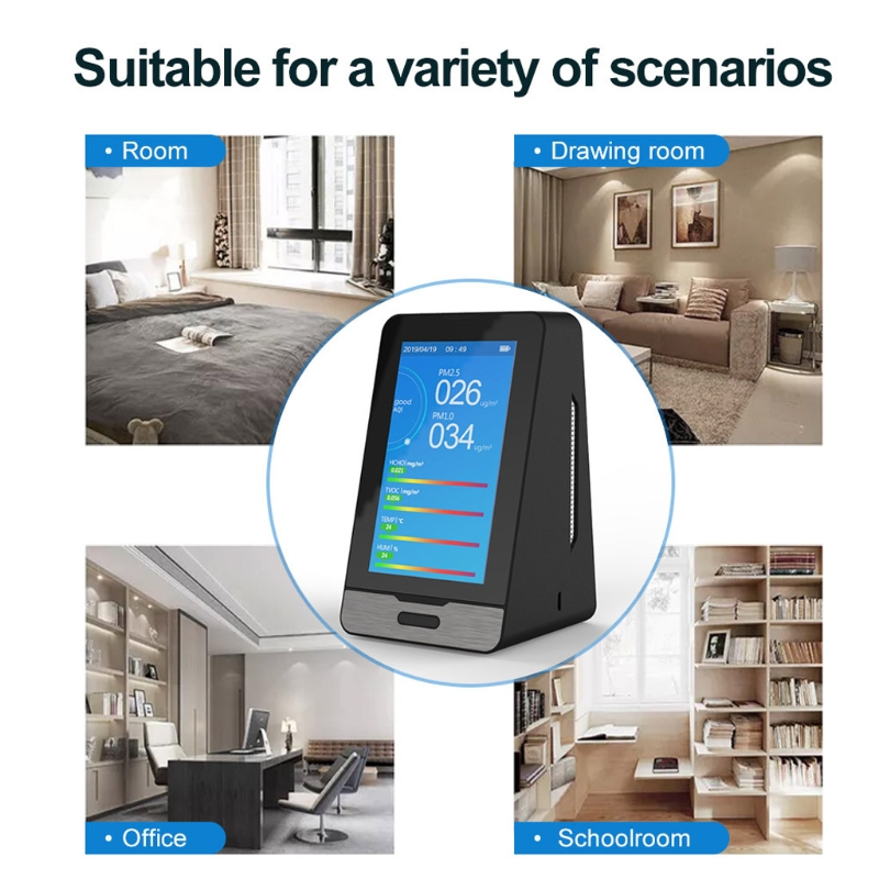 Wifi 4.3 Inch Led Display Intelligent Co2 Hcho Tovc Gas Detector Pm2.5 Pm1.0 Pm1 N58c Lustrous Surface
