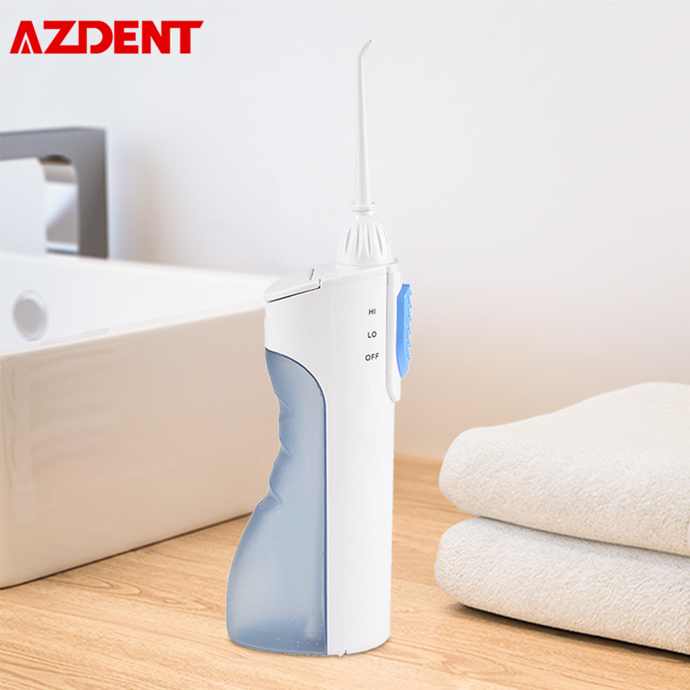 AZDENT LV800 Oral Irrigator Battery Powered Water Dental Flosser With Replaceable Spray Jet Tips Heads Travel Portable Oral Care