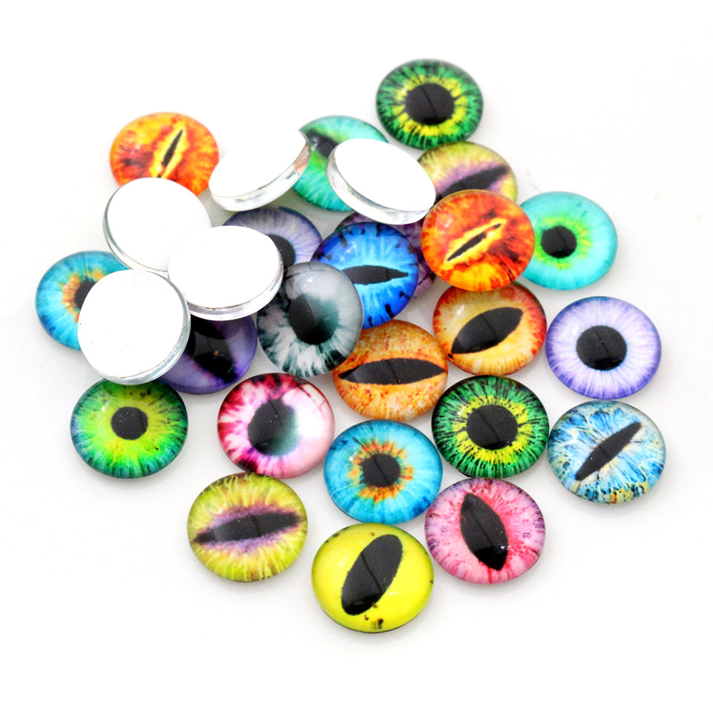 Hot Sale 50pcs 12mm  Mixed Handmade Photo Glass Cabochons  (D5-09)