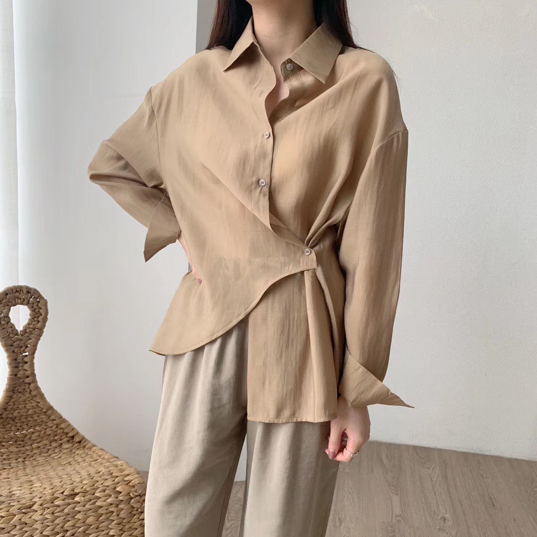 White Blouses Tops Women Korean Long Sleeve Shirts Asymetrical Cotton Shirts Solid Color 2020 Spring
