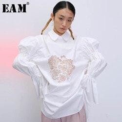 Женская блузка EAM, белая Свободная рубашка большого размера с отложным воротником и рукавами-фонариками, на весну-осень 2020 1T915