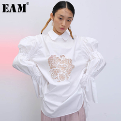 [EAM] Women White Pattern Hollow Out Big Size Blouse New Lapel Puff Sleeve Loose Fit Shirt Fashion Tide Spring Autumn 2020 1T915