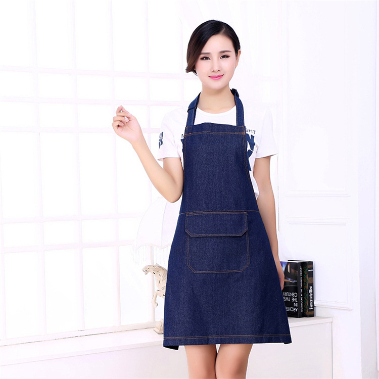 Apron Denim Pure Cotton Apron Sleeveless Thick Large Size Adult Overclothes Waiter Work Clothes Kitchen Protective Clothing Cove
