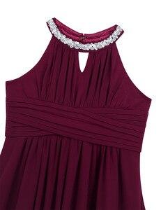Image 5 - Chifón para niñas grandes, sin mangas, con lentejuelas, cuello Halter, vestido de princesa desfile, boda, cumpleaños, vestido de fiesta de comunión