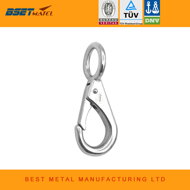 Marine Grade Stainless Steel 316 Rigid Loaded Fixed Eye Spring Clip Snap Hook Carabiner Marine Hardware Accessories For Boats